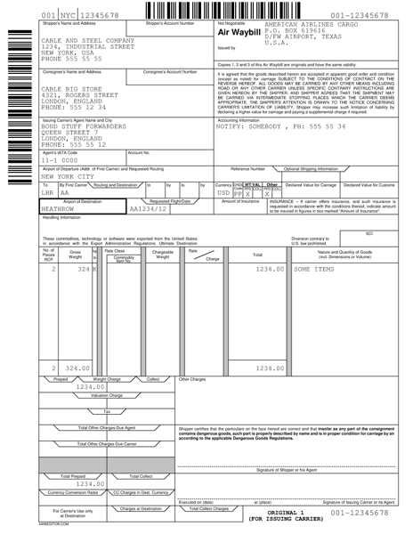 Airway bill of lading AWB example