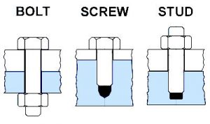 bolt, screw and stud: differences