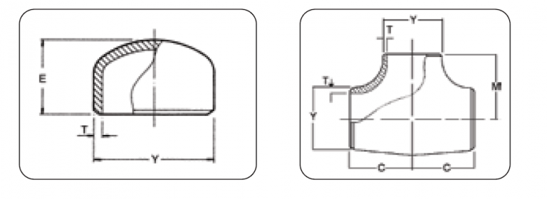 Pipe cap and tee dimension and weight
