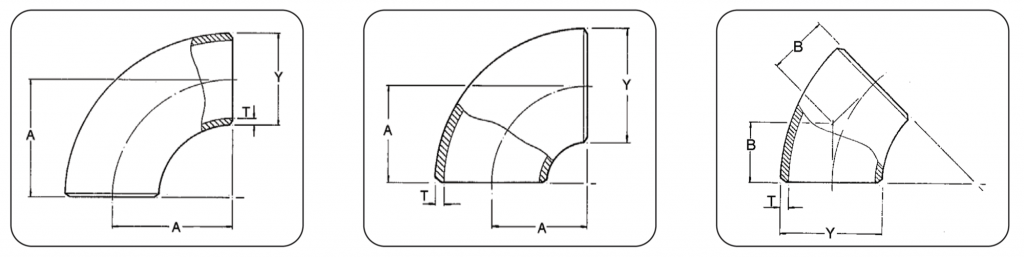 Buttweld fittings dimensions: pipe elbow 45 and 90 degrees LR and SR