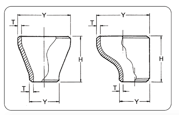 Pipe reducer dimension and weight