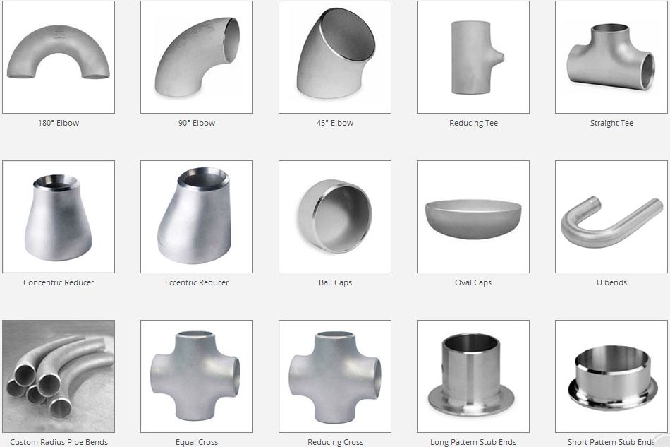 Types of pipe fittings: elbow, tee, reducer, cap, cross