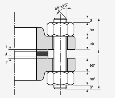 Length of stud bolt